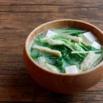 水菜と油揚げとお豆腐のお味噌汁