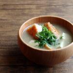 野菜天と大葉のお味噌汁